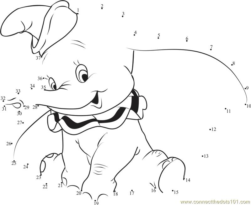 Dumbo Elephant Drawing Dumbo Small Elephant Dot to