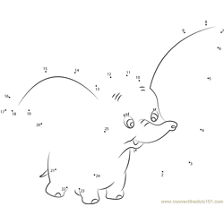 Big Ear Dumbo Dot to Dot Worksheet