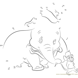 Dumbo Going with Mouse Dot to Dot Worksheet