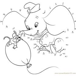 Dumbo Playing with Mouse and Balloon Dot to Dot Worksheet
