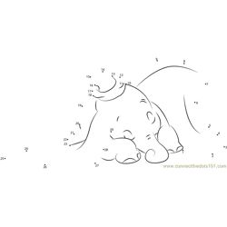 Dumbo Sleeping Dot to Dot Worksheet