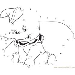 Dumbo Small Elephant Dot to Dot Worksheet