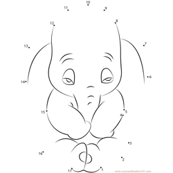 Sad Dumbo Dot to Dot Worksheet