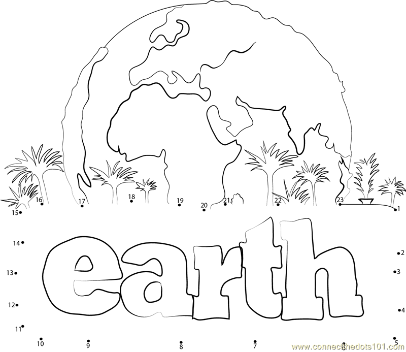 Earth dot to dot printable worksheet
