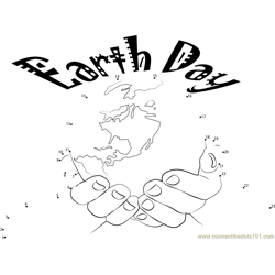 Earth on Palm Dot to Dot Worksheet