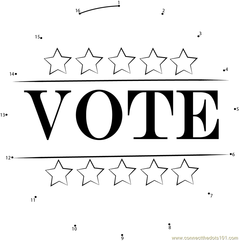 Election day dot to dot printable worksheet connect the dots for Free election day coloring pages