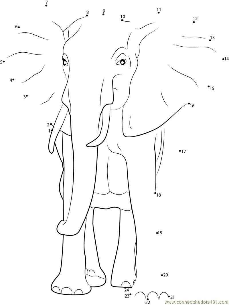 Elephant Dot To Dot Worksheet : African bush elephant dot to printable worksheet