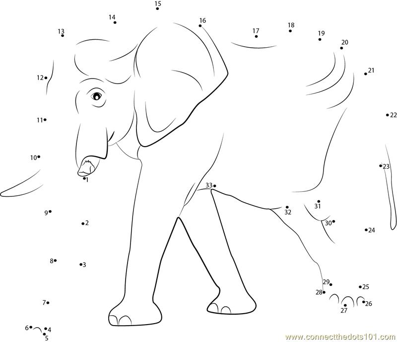 Elephant Dot To Dot Worksheet : Big elephant running dot to printable worksheet