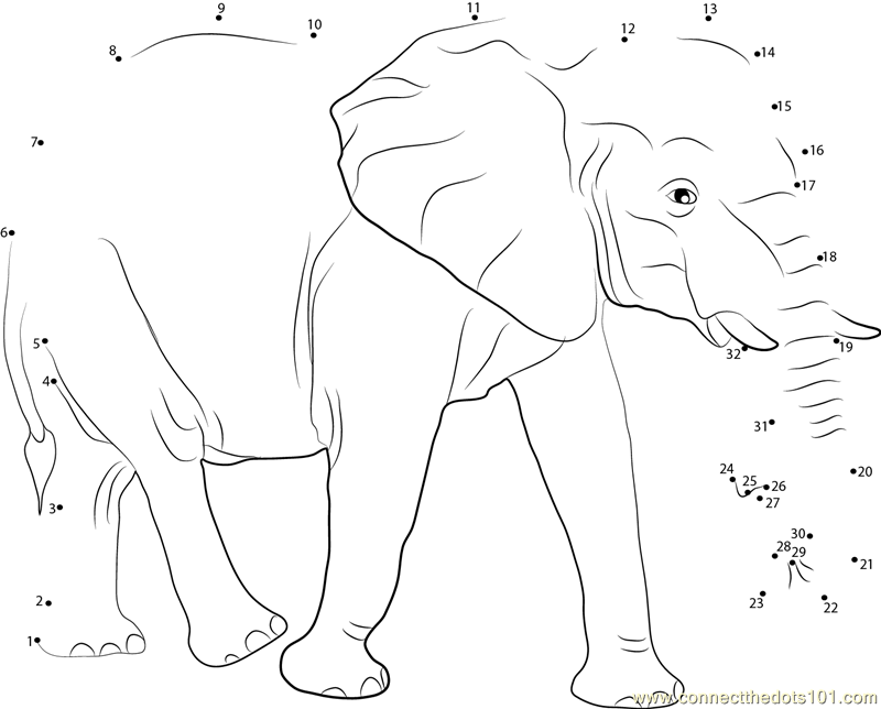 Elephant Dot To Dot Worksheet : Big elephant dot to printable worksheet connect the dots