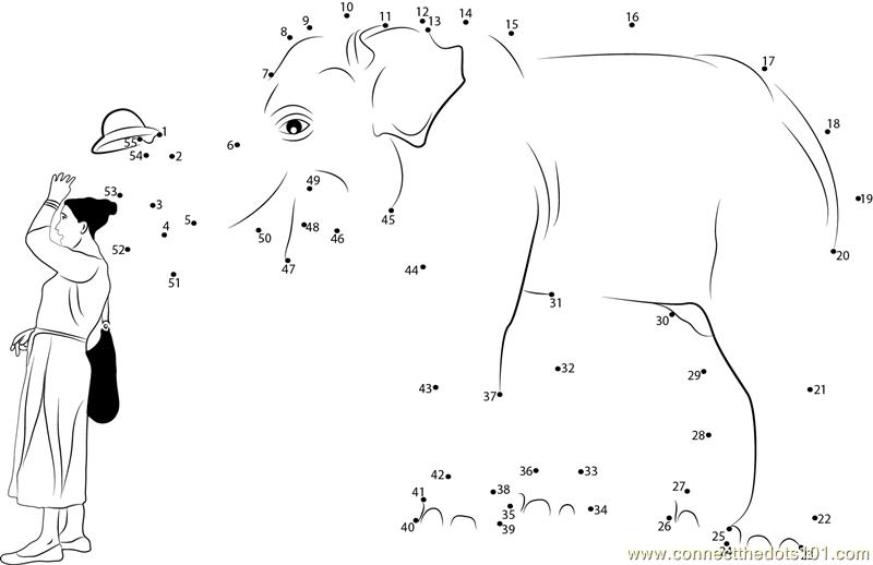 Elephant Dot To Dot Worksheet : Elephant hat lady dot to printable worksheet connect