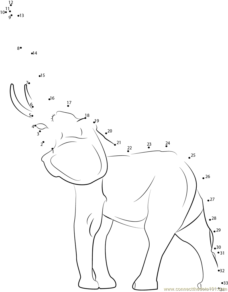 Young Indian Elephant Dot To Dot Printable Worksheet