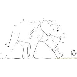 Elephants Hit the Ball Dot to Dot Worksheet