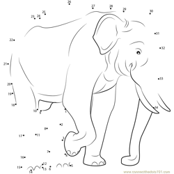 Indian Elephant Dot to Dot Worksheet