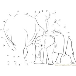 Indian Elephant with Calf Dot to Dot Worksheet