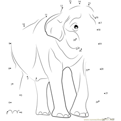 Male Asian Elephants Dot to Dot Worksheet