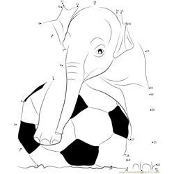 Playing Football Elephants Dot to Dot Worksheet