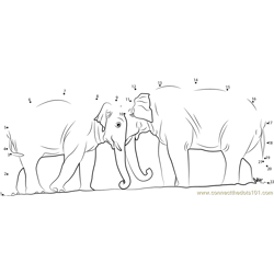 Two Elephants Dot to Dot Worksheet