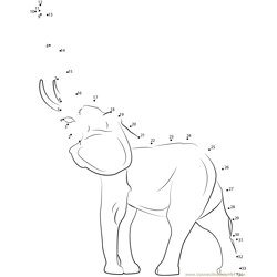 Young Indian Elephant Dot to Dot Worksheet