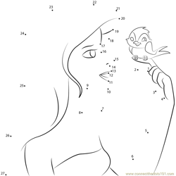Princess Giselle with Birds Dot to Dot Worksheet