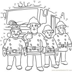Fireman Sam and Firetruck Team Dot to Dot Worksheet