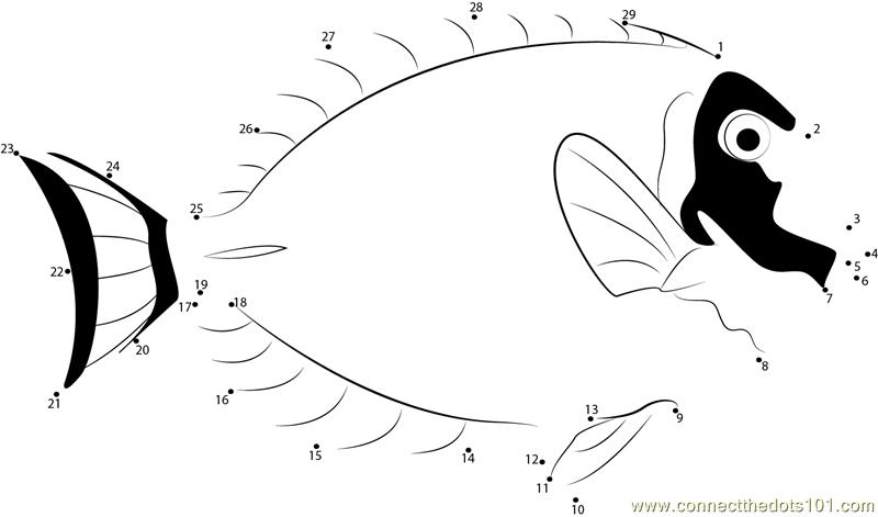 Powder Blue Surgeon Fish Dot To Dot Printable Worksheet