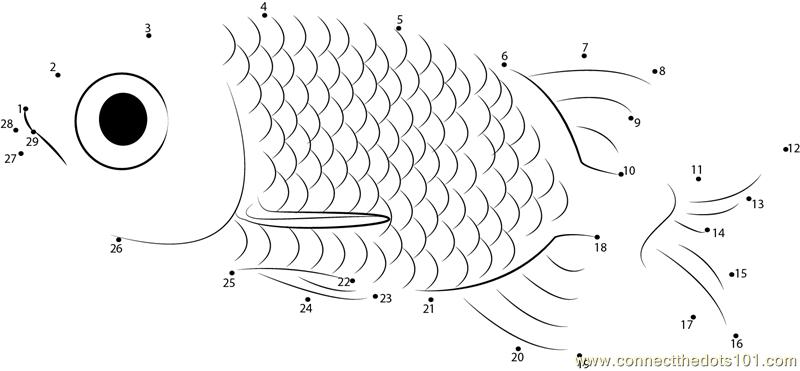 Small Fish Dot To Dot Printable Worksheet