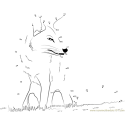 Fox Sitting Dot to Dot Worksheet