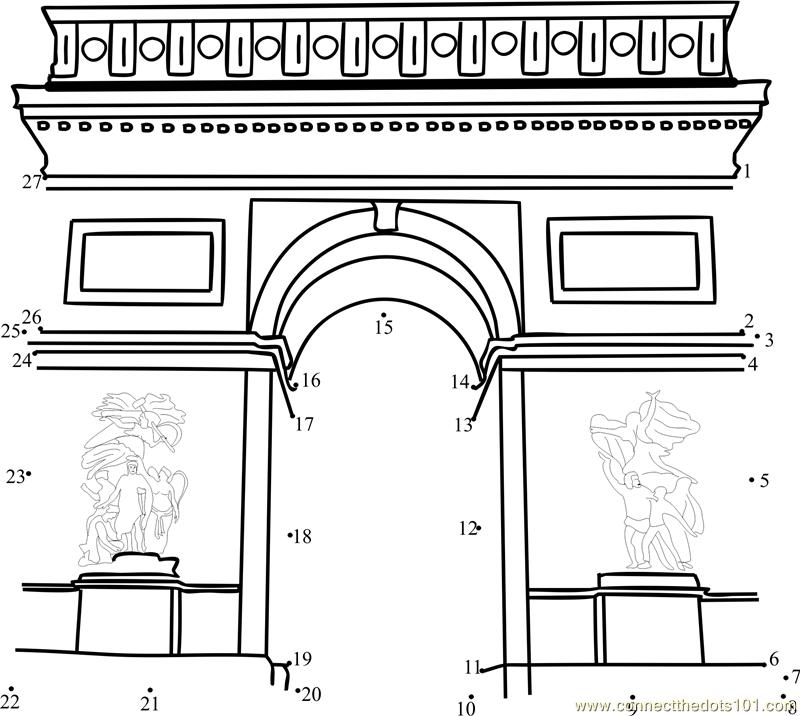 arc de triomphe dot to dot printable worksheet connect the dots. Black Bedroom Furniture Sets. Home Design Ideas