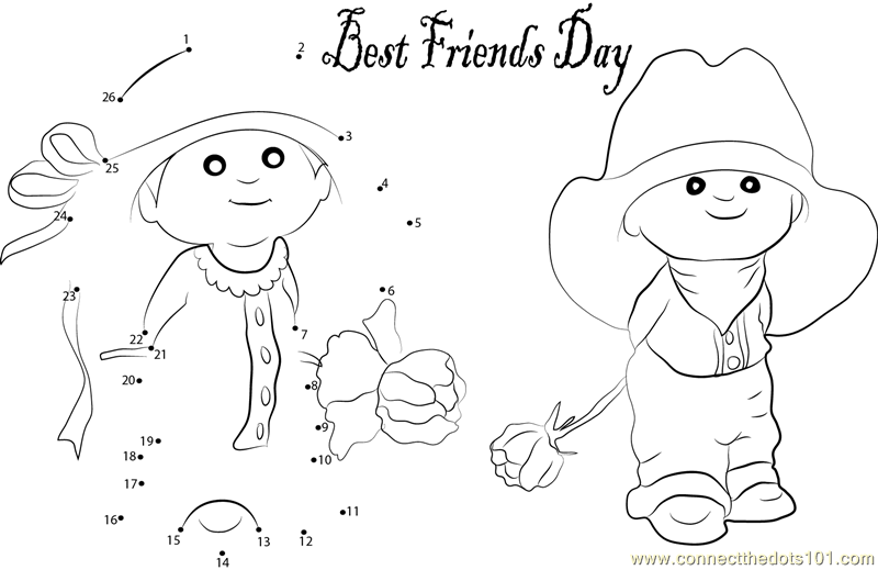 Two Lovely friendship dot to dot printable worksheet - Connect The ...