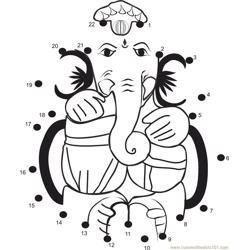 Ganesha Bhagwan Dot to Dot Worksheet