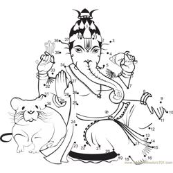 Lord Ganesha Blessing Dot to Dot Worksheet