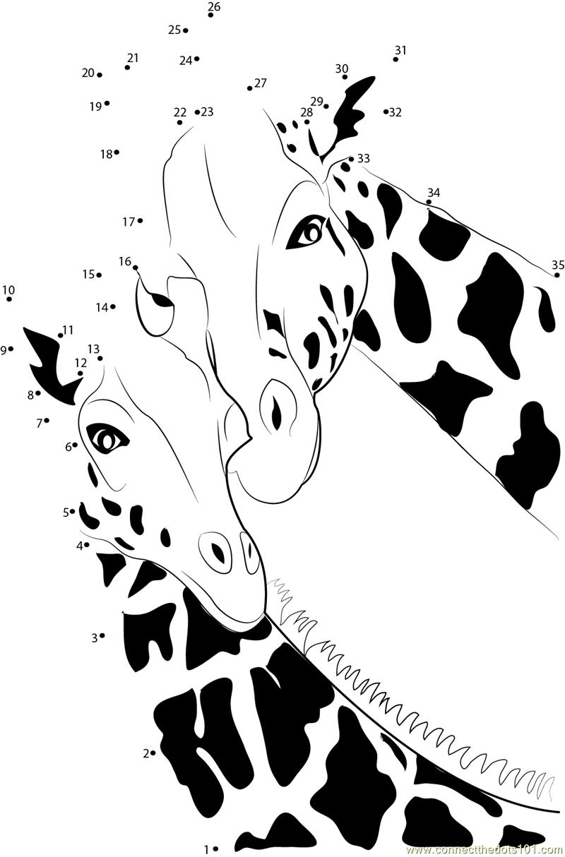 Giraffe dot to dot printable worksheet