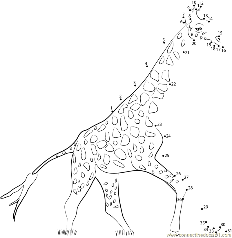 Giraffe Connect The Dots Worksheets Printable For Kids