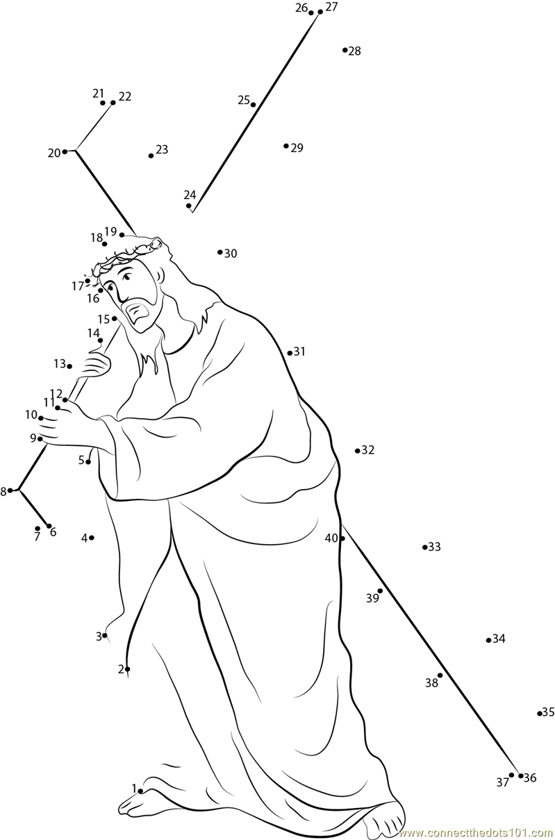 Jesus Carrying Cross Dot To Dot Printable Worksheet