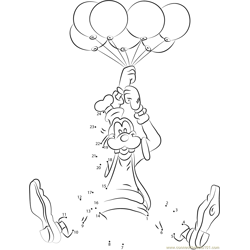 Goofy with Balloons Dot to Dot Worksheet