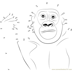 Gorilla Movement Dot to Dot Worksheet