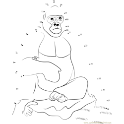 Gorilla Sitting Dot to Dot Worksheet