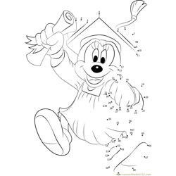 Enjoy Graduation Day With Mickey Dot to Dot Worksheet