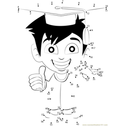 Young Smiling Graduate Dot to Dot Worksheet