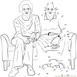 Grandparents Sitting on Sofa