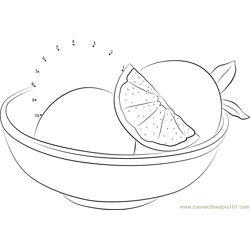 Grapefruit Cut in Plate Dot to Dot Worksheet