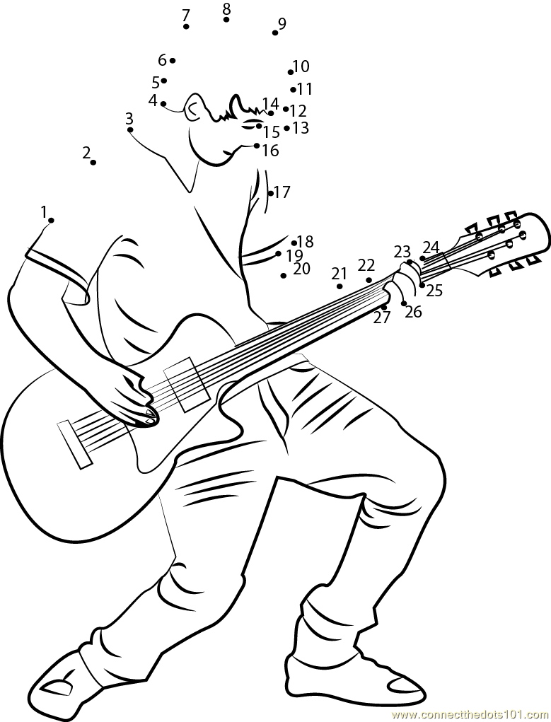Guitar Playing Boy Dot To Dot Printable Worksheet Connect The Dots