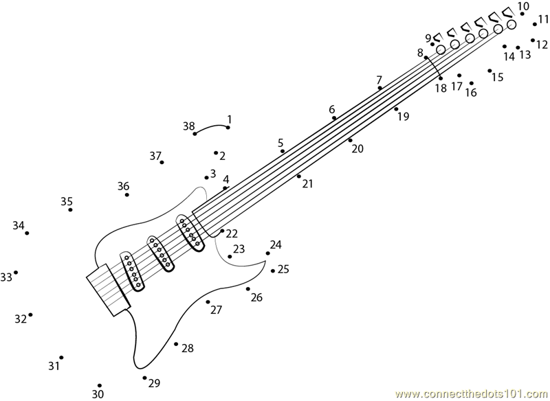 Guitar Coloring Pages Pdf : Semi acoustic electric guitar dot to printable