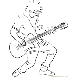 Guitar playing boy Dot to Dot Worksheet