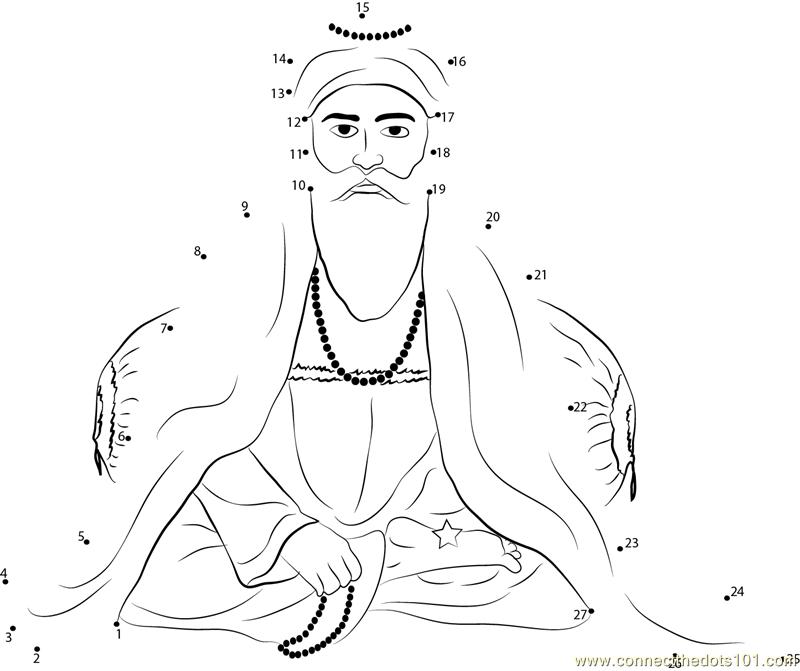 Sikh God dot to dot printable worksheet