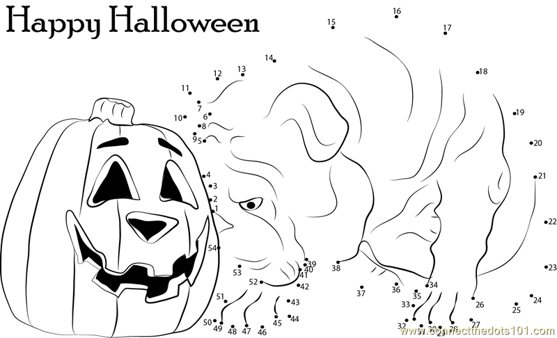 Bulldog and Pumpkin Halloween dot to dot printable worksheet ...