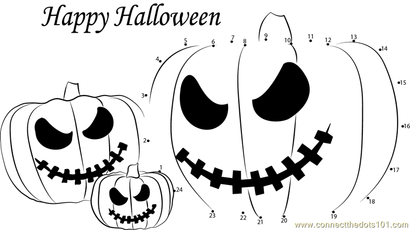 Halloween dot to dot printable worksheet - Connect The Dots