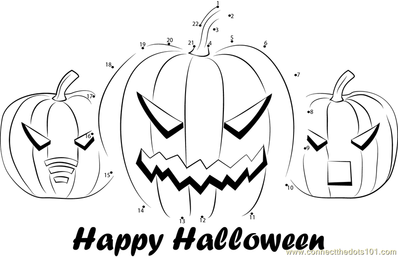 Halloween Connect the Dots Worksheets Printable for Kids