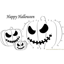 Halloween Ghost Pumpkins Dot to Dot Worksheet