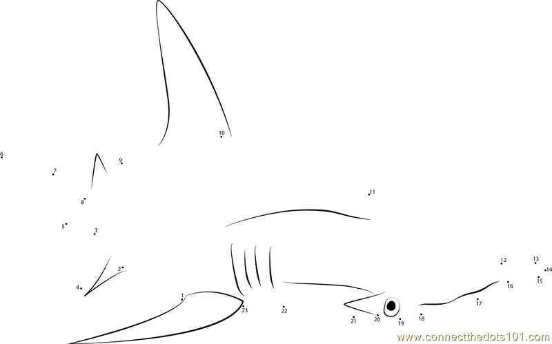 Hammerhead shark Connect the Dots Worksheets Printable for Kids